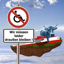 Grafik: Ein Rolliverbotsschild vor einer schwebenden Erdscholle mit österreichischer Flagge
