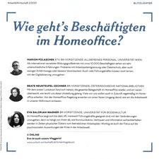 Ausschnitt aus Arbeit&Wirtschaft-Magazin 2/2021: Marion, Beate und Eva berichten, wie es den KollegInnen im Home Office geht.