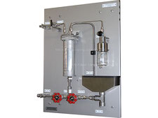 Hot Liquid hydrocarbons sampling station, on-off sampler closed loop, no emission, bottle sampler with needles