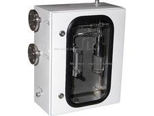 Liquid sampling cabinet off-shore coating, bypass sampler closed loop, no emission, bottle sampler with needles
