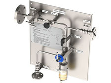 Liquid sampling station, bypass sampler closed loop, no emission, bottle sampler with needles, spring return sample valve