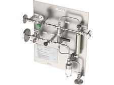 High pressure Liquid sampling station, fixed volume sampler closed loop, no emission, bottle sampler with needles