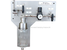 Liquid sampling panel, bypass needle purge sampler closed loop, no emission, bottle sampler with needles, spring return sample valve