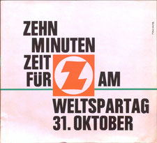 Zehn Minuten Zeit für Z (Zentralsparkasse) am Weltspartag. Strassenbahn-Plakat 1963. Heinz Traimer.