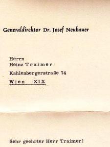 Brief des Generaldirektors der Zentralsparkasse 1963.