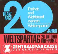 Sparkassenwerbung zum Weltspartag 1965. Zentralsparkasse der Gemeinde Wien.