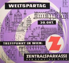 Straßenbahn Plakat zum Weltspartag 1959. Wiener Sehenswürdigkeiten.