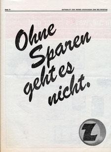 Ohne Sparen geht es nicht. Z Zentralsparkasse Weltspartag (Plakat 1974).