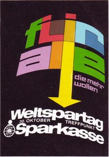 Weltspartag 1970. Plakat der Sparkasse.