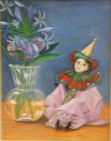 花と人形 油彩6号