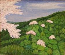 高安山の桜 油彩10号