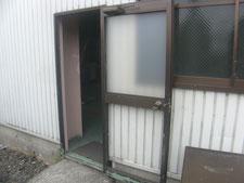 アルミ製框ドアの修復作業:工事前写真