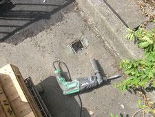 角パイプの撤去作業:工事中写真