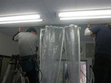 テントカーテンの新設:工事中写真