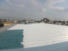 屋根の遮熱塗装:工事中写真