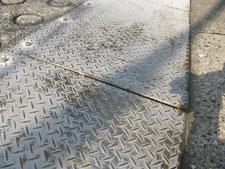 縞鋼板の現場溶接:工事前写真