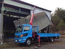 庇の解体撤去:工事中写真