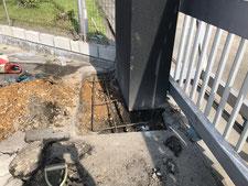 門柱のRC基礎による補強:工事中写真