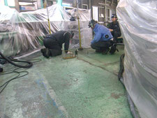 テラテック工法での沈下修正工事:工事中写真