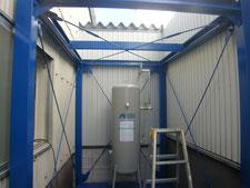 屋根付き電設架台の製作:工事中写真