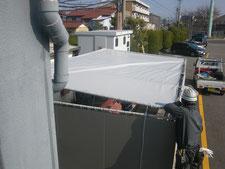 テント屋根の張替え:工事中写真