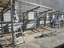 ポリカ張り替え:工事中写真