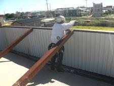 社屋外装の修復:工事中写真