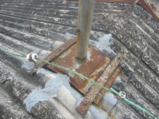 スレート屋根棟部板金カバー:工事前写真