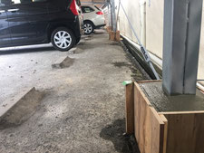 屋根付き駐車場の修繕:工事中写真