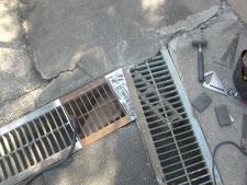 グレーチング安全措置:工事中写真