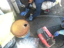 配管の高圧洗浄:工事中写真