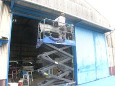 ハンガードアの改修工事:工事中写真