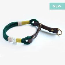 halsband aus tau und Leder grün Zugstopp