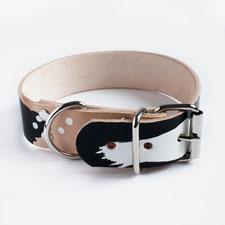 Lederhalsband beige mit schwarz weiß