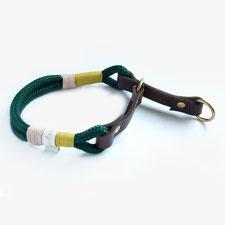hundsoadli Zugstop Halsband Leder Tau grün