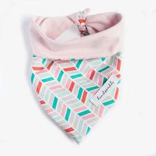 hundsoadli geometrisches Hundehalstuch mit rosa türkis