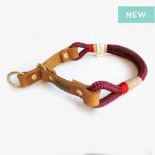 hundsoadli Halsband Lebkoung - rot aus leder und Tau