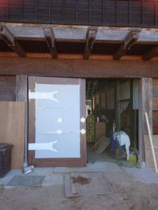 門扉 ケヤキ 木製建具 模型仮合せ