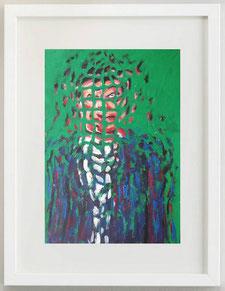 Uomo con vestito blu su sfondo verde, 2020, acrilico, 20 x 30 cm