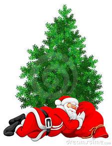 sleeping santa & christmas tree