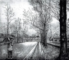 早春(雨)の迎賓館 (銅版画・F10 )
