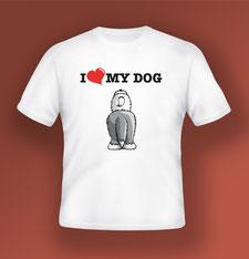 disegno-drawing-bobtail-old-english-sheepdog-illustrazione da dietro-cane-in-piedi-scritta-I-love-my-dog-tshirt-bianca