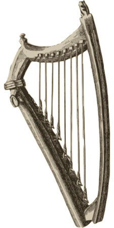 La harpe est un instrument de musique en bois, de forme triangulaire et muni de cordes de longueur décroissante que l'on pince avec les doigts pour obtenir un son vibratoire. La harpe est cité de nombreuses fois dans la Bible, une harpe à 8 cordes.