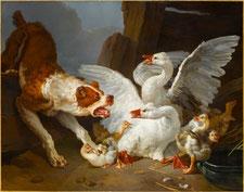 Jean-Baptiste Huet, Un dogue se jetant sur des oies, vers 1769 / Photo Musée du Louvre