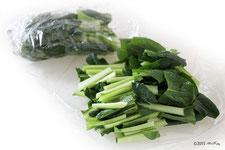 ②小松菜を食べる分ずつ冷凍