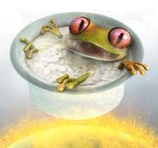 Imagen de una pintura de una rana hirviendo en una olla al fuego