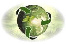 Darstellung einer gänzlich grünen Erde mit 3 grünen Pfeilen zur Visualisierung eines Lebenszyklus