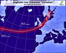 Abb. 2 | Zugbahn und Kerndruck des Orkans Christian vom 26. bis 28.10.2013 | Bildquelle: Welt der Synoptik