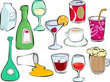 Grafik mit Getränken und Lebensmitteln