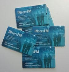 Fünf oder sechs Speicherkarten, auf denen die Texte des Tagungsbands gespeichert sind. Die Speicherkarten sind in blau gehalten. Zu sehen sind das aus Buchstaben bestehende Messeloge I N S E R V F M sowie schemenhaft dargestellte Menschen.